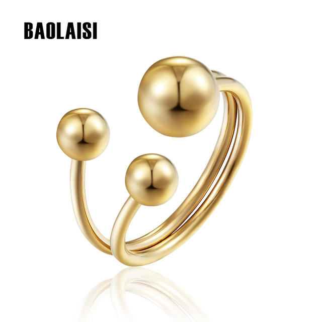 BAOLAISI Ring New Punk Three Round Style Gold-Color Stainless Steel Wedding Bands Rings For Women Party Gift