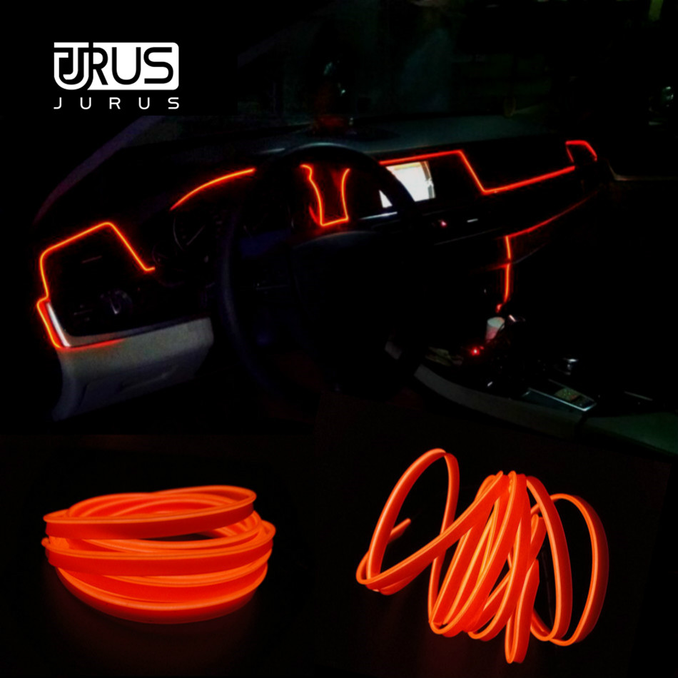 JURUS 1M/2M/3Meter/5M Car Lights Flexible Neon Wire 12V Tube Rope Light Led Strip Emitting Line Lamp Led Automotive Universal