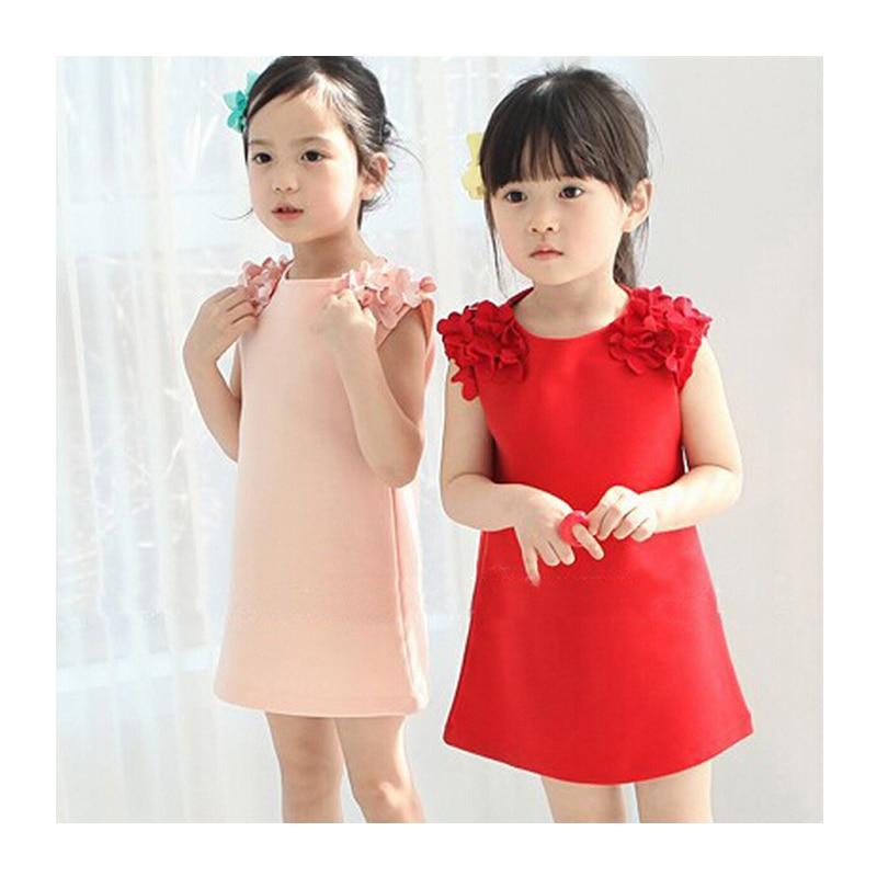 Ljeto djevojke 2-6 godina oblače dječje haljine Pamuk Trodimenzionalno cvijeće Ravna ružičasta / Crvena Djevojka haljina bez rukava