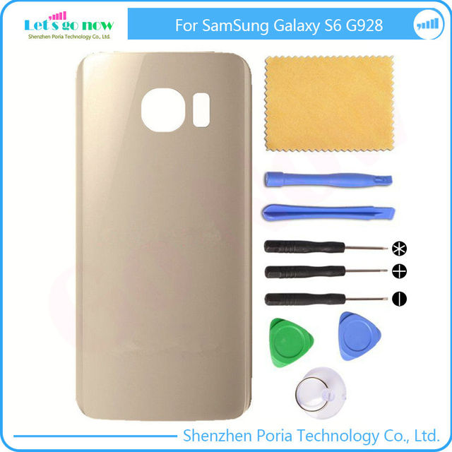 New Glass Battery Cover Rear Back housingdoor + Adhesive Glue+Free Tools For Samsung Galaxy S6 Edge Plus G928 SM-G928