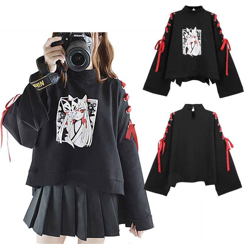 Japan Style Fox Printed Cross Ribbon Sleeve Coat Black Pullover Top Women's Autumn Long Sleeve Shirt One Size