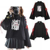 Japan Style Fox Printed Cross Ribbon Sleeve Coat Black Pullover Top Women's Autumn Long Sleeve Shirt One Size
