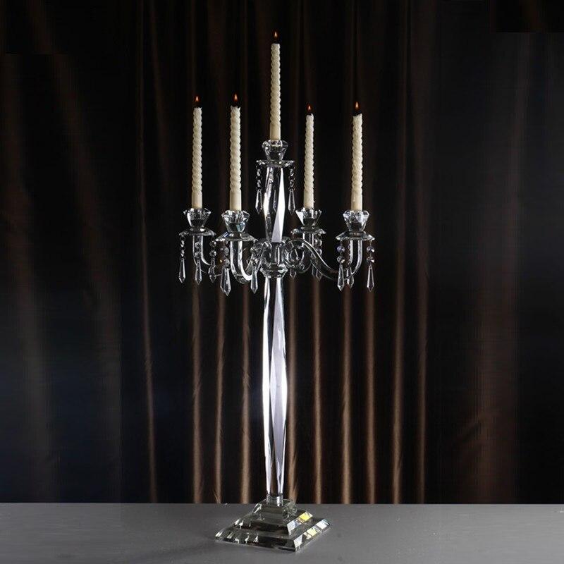 Romantico Candelabri Fatti A Mano 5 braccia Smontabile di Cristallo Da Tavolo Centrotavola Candela Titolari per le Decorazioni di Casa