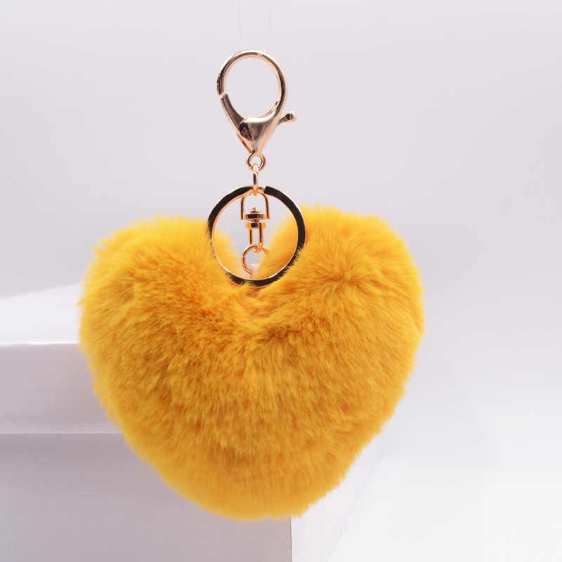... Cute Fluffy Heart Keychain Women Pom Pom Fake Rabbit Fur Key Chains  Girl Bag Hang Car ... 0c4aaab108