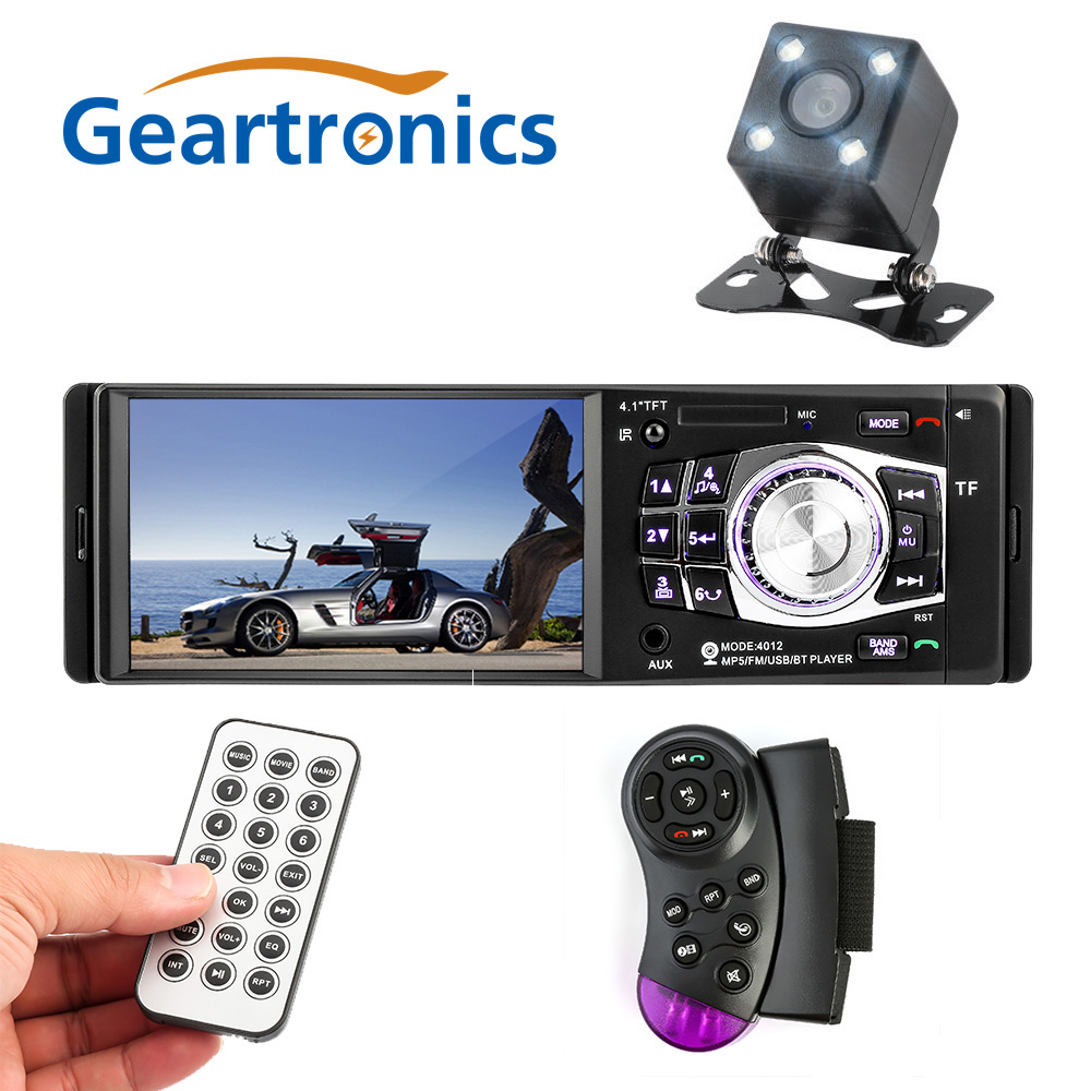 4012 4.1 pouces 1 Din Voiture Radio Auto Audio Stéréo FM Bluetooth 2.0 D'appui Arrière Caméra USB Volant télécommande
