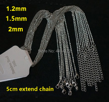 Wholesale 50pcs silver color 1.2 1.5mm 2mm thin welding cross chains stainless steel necklaces have extender women men's jewelry(China)