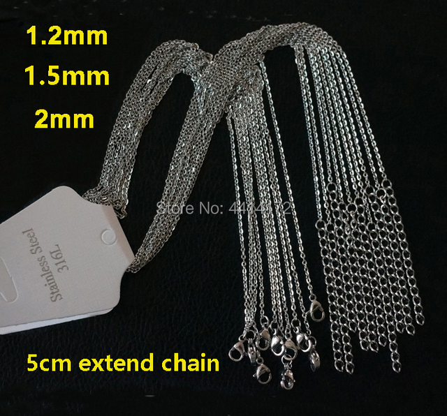 Wholesale 50pcs silver color 1.2 1.5mm 2mm thin welding cross chains stainless steel necklaces have extender women men's jewelry
