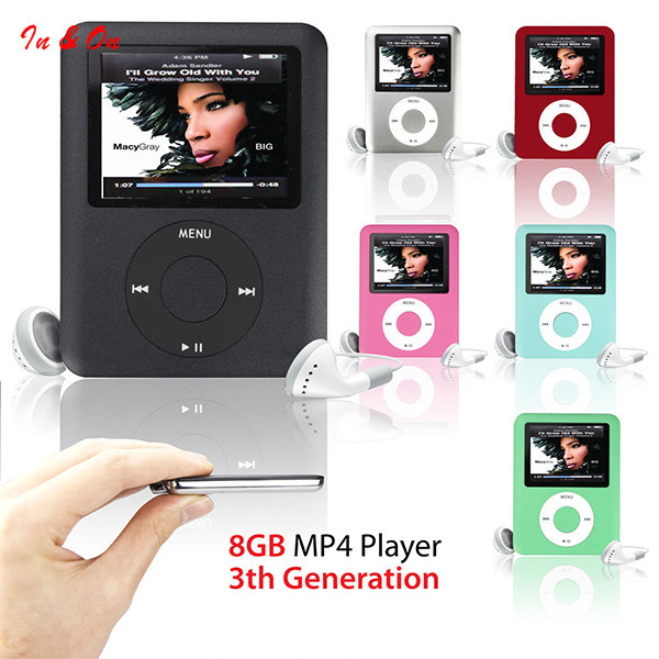 "Reproductor de MP3 8 GB 1.8 ""LCD de Medios de Vídeo radio FM 3o Generación 6 Colores"