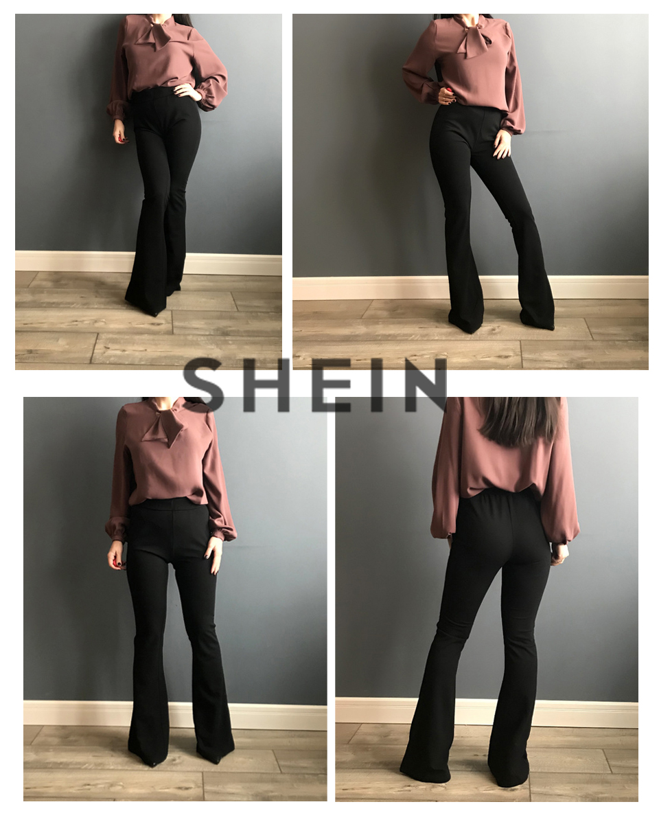 SHEIN Black Elegant Office Lady Elastic Waist Flare Hem Pants Casual Solid Minimalist Pants 19 Spring Women Pants Trousers 5