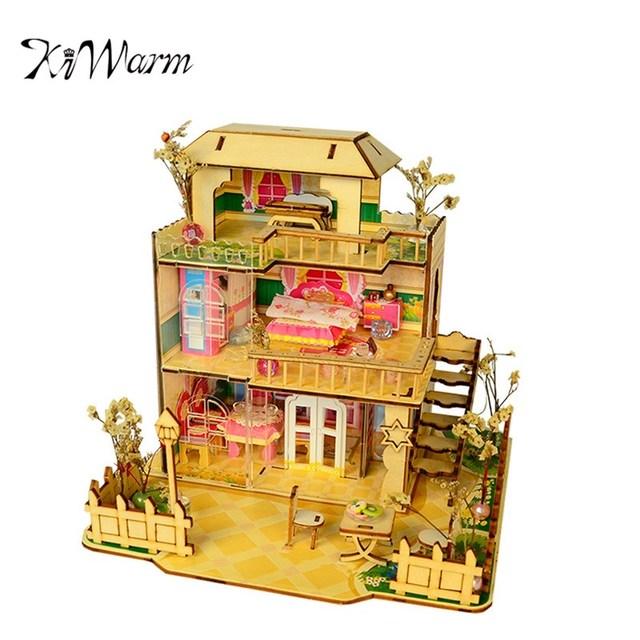 KiWarm Modern Happy Provence House Room DIY Dollhouse Kit With LED Light  Wood Decoration Handmade Ornament