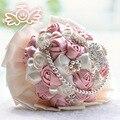 Красный фиолетовый бисера хрустальная роза свадебный букет искусственный невесты перлы цветка свадебные букеты