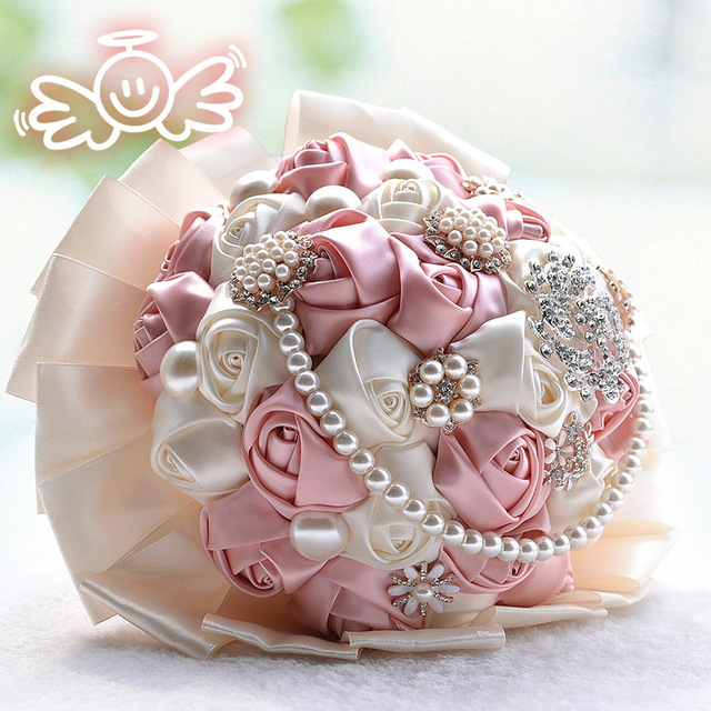 Rojo púrpura con cuentas cristal Rose Wedding Bouquet Artificial dama de honor ramos de novia perla