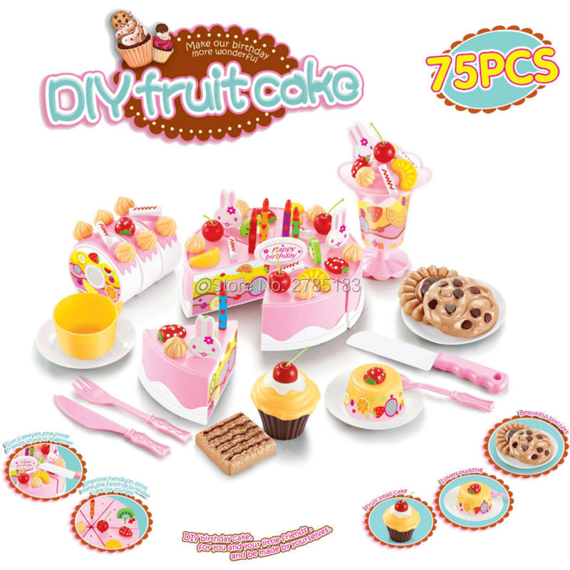 75pcs Birthday Cake DIY Model Children Kids Early Educational Classic Toy Pretend Play Kitchen Food Cake Play Food Tea Toy Sets