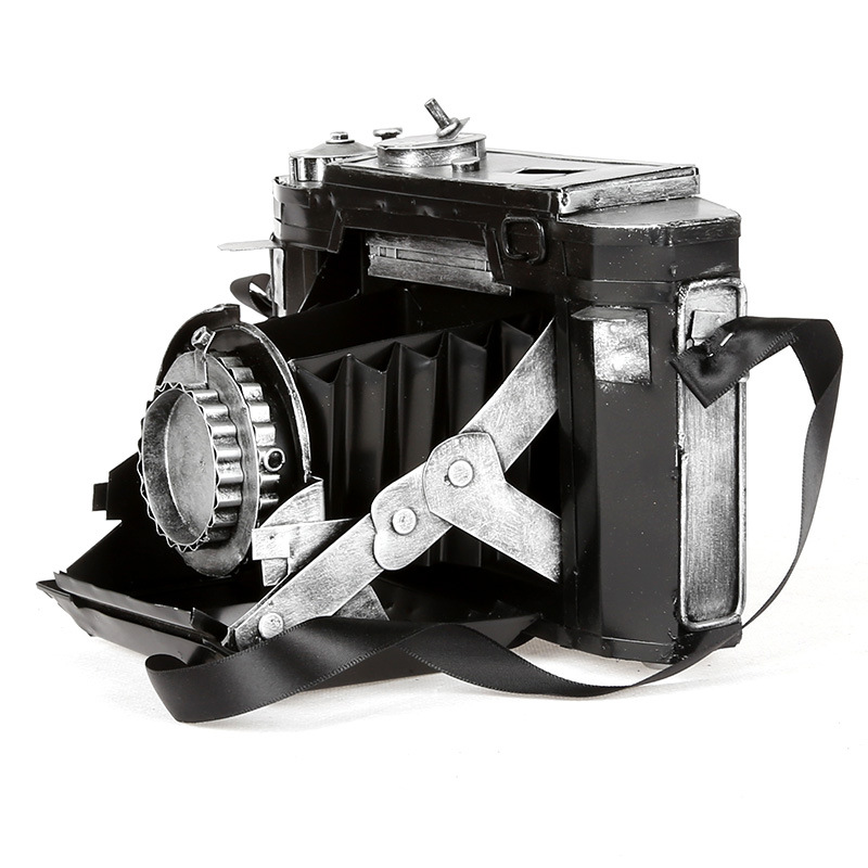 American Retro Vintage Tin SLR Camera Model Decor Figurines Bar Cafe Decoration Ornaments Movie Shooting Props Zakka Handicrafts