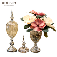 Classical European style rhodium plated crystal glass vase flower pot fruit plate candle holder storage box wedding decor gift