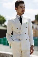 ( Blazer+Pant)Custom Slim Fit Ivory Grey Double Breasted Solid 2-Piece Suit Notch Lapel Groomsman Tuxedo Jacket Pants Set 2 Pcs недорого