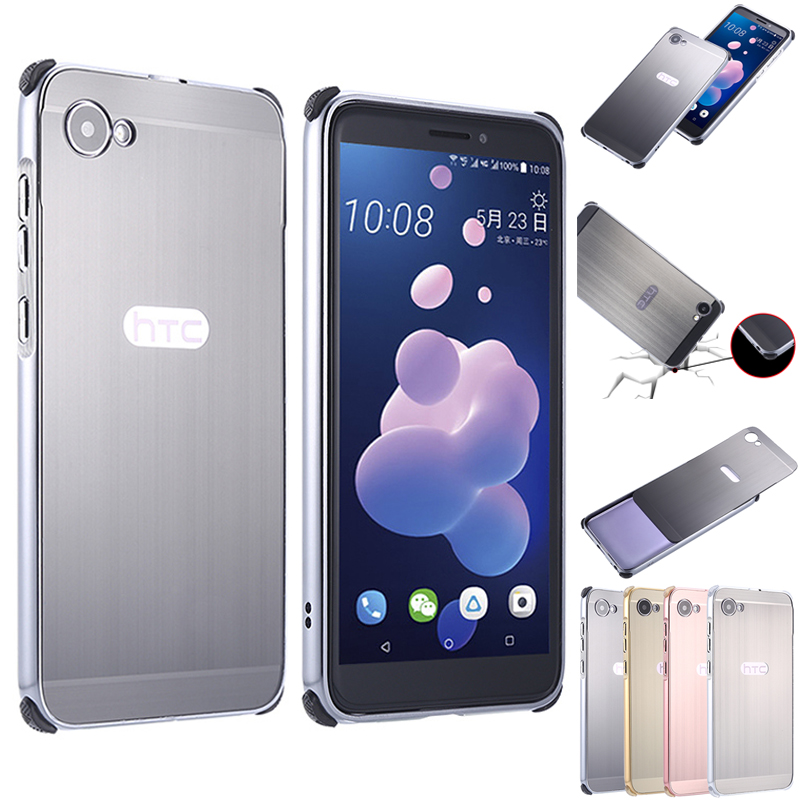For HTC Desire 12 Plus 12+ Case for Desire12 Brushed Back Cover Hard with Plating Metal Frame