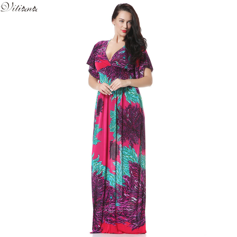 2017 Womens Summer Elegant Print Beach Dress For Vacation Bohemian Maxi Long Dresses Plus Size 6XL 7XL Vestidos 3004
