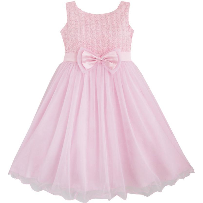 Girls Dress Rose Flower Pink Wedding Bridesmaid Child ...