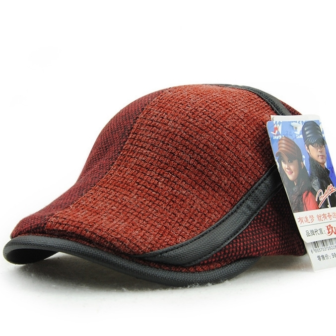 Peaked-Cap Newsboy-Hats Knitting Wool Autumn Male Winter Fashion Man And Patch Gift Top-Quality