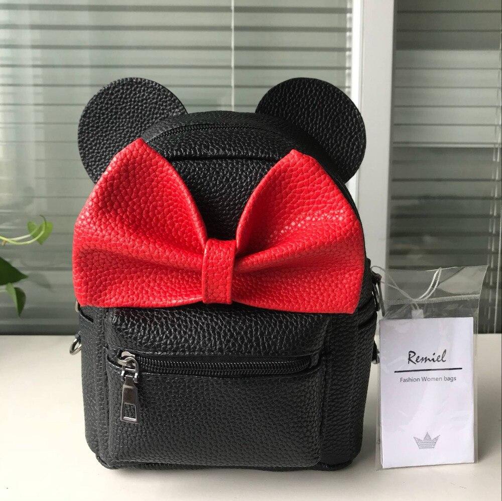 HTB1nmdsXAfb uJjSsD4q6yqiFXaB 2018 New Mickey Backpack Pu Leather Female Mini Bag Women's Backpack Sweet Bow Teen Girls Backpacks School Bag Lady Shoulder bag