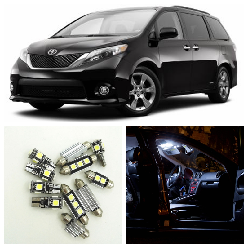 все цены на 13 pieces Car White LED Light Bulbs Interior Package Kit For 2011-2015 Toyota Sienna LED Map Dome Light License Plate Light онлайн