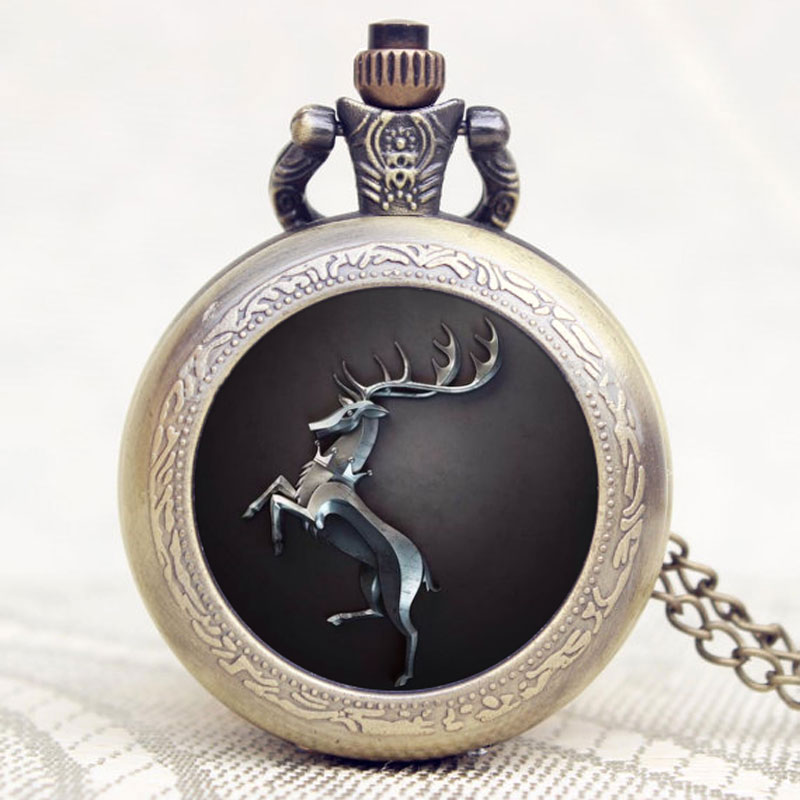 The Song Of Ice Vintage Pocket Watches Silver Tone Necklace PendanT Bronze Quartz Watches Deer Fob Clock White Dial Gifts