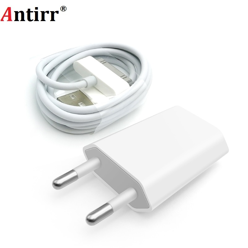 Antirr For iphone 4 Cable 30 pin Charger Cable & 5V 1A AC Travel Wall Power Charger Adapter For iphone 4 4s iPad 2 3
