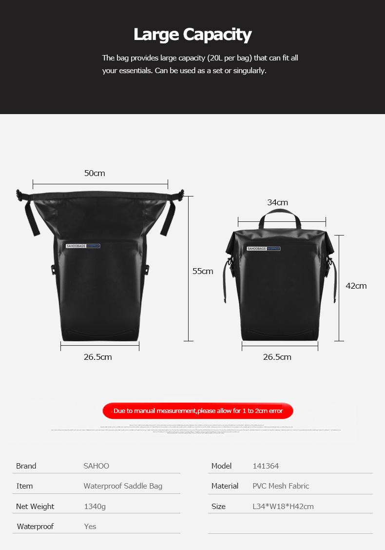 Discount Sahoo 141364-SA 20L Full Waterproof Dry Mountain Road Bike Bicycle Cycling Pannier Bag Back Rear Seat Trunk Bag Rack Pack 3