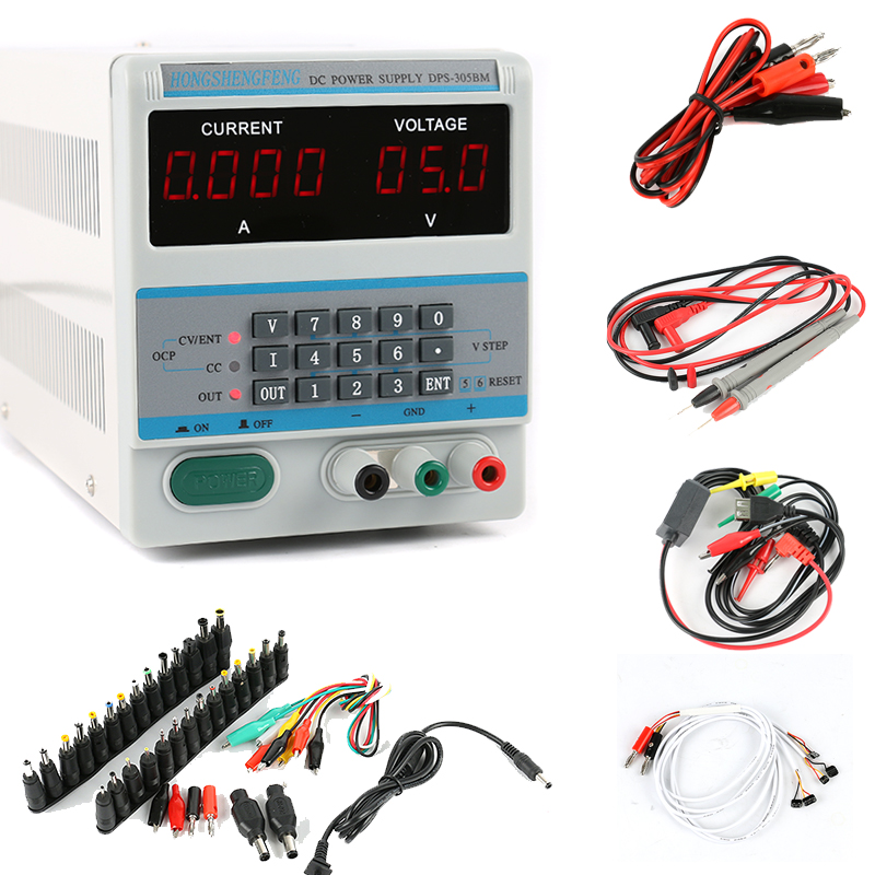 DPS Lab Digital Keyboard Adjustable Programmable DC Power Supply 30V 5A 0.1V 0.001A Laptop AC DC JACK Phone Repair Cable Set free shipping dps 305dm digital dc power supply 30v 5a 0 001a 0 1v programmable mobile phone repair power