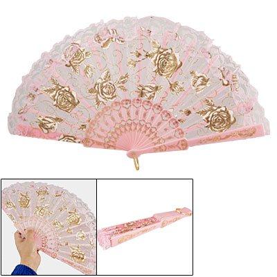 Ultra Pink Plastic Ribs Rose Print Dance Fold Hand Fan AD
