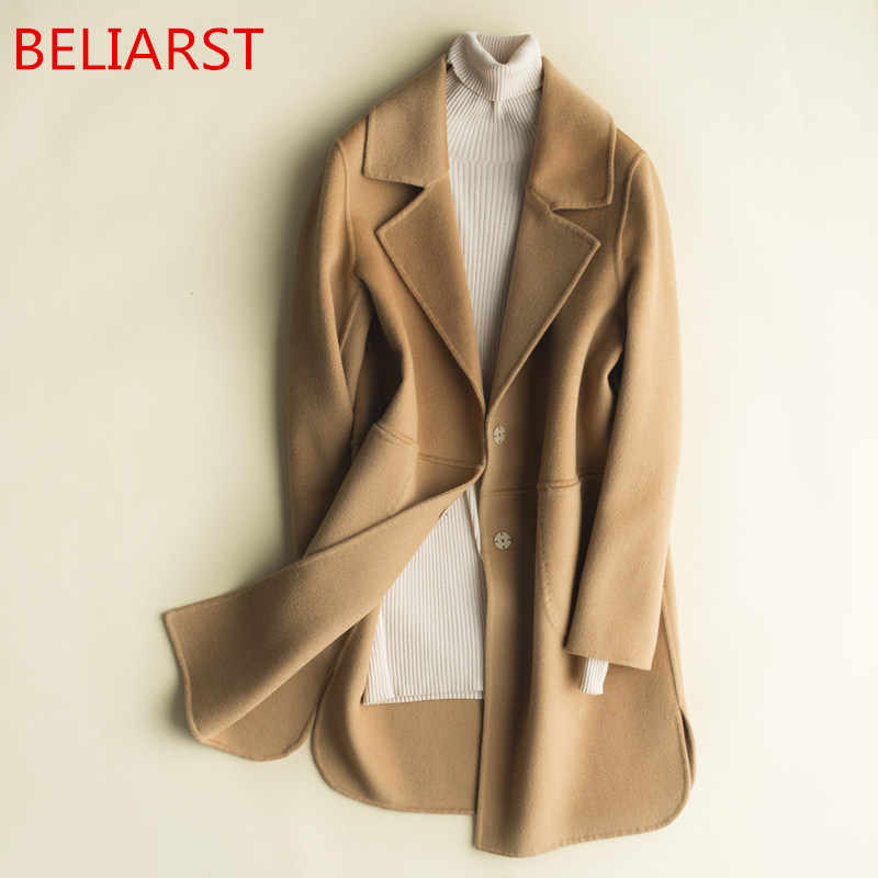 BELIARST 2019Autumn and Winter Double-Sided Pure Cashmere Coat Woman Jacket Long Loose Wool Suit Collar New Pure Color Cardigan