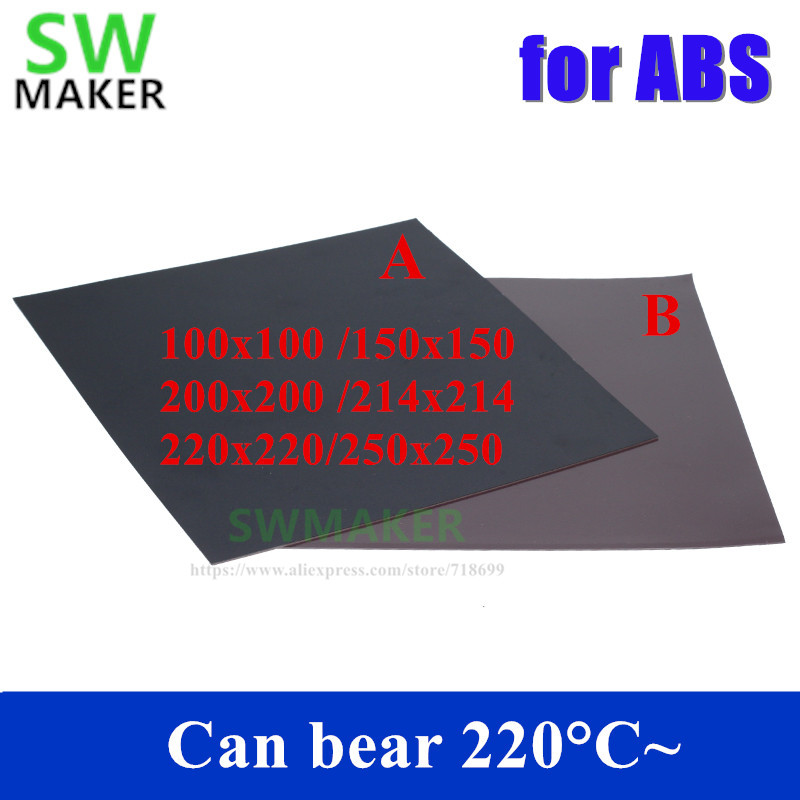 New For ABS Magnetic Print Bed Tape Square 100/150/200/214/220/250mm Print Sticker Build Plate Tape Flex Plate 3D Printer Parts