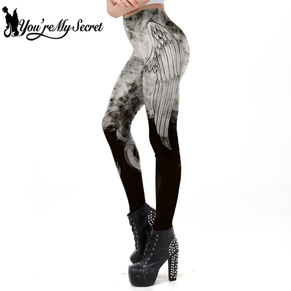 [You're My Secret] 2019 New Punk Style Dark Grey Angel Wing Smog Printed Leggins Women Gothic Workout Legging Fitness Ankle Pant