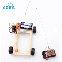 SZ STEAM Model Toy Remote Control Four-Wheel Drive Developing Intelligent STEM Wood  Electric Science Motor SZ3316