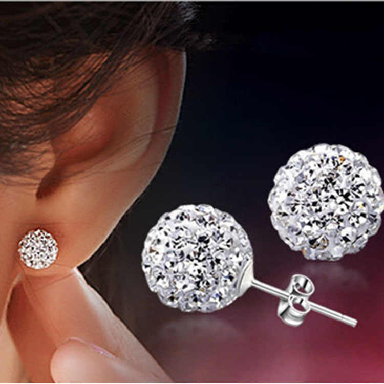 Brand Fashion Earrings Piercing Bijoux Mix Color Micro Disco Ball Earring Studs Clay CZ Crystal Earrings For Women Brincos