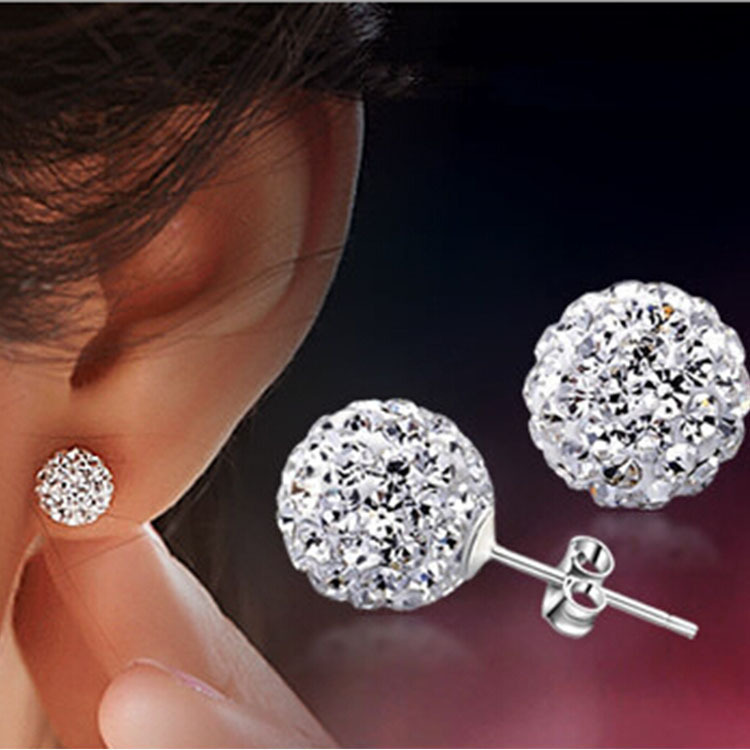 Aliexpress Brand Fashion Earrings Piercing Bijoux Mix Color Micro Disco Ball Earring Studs Clay Cz Crystal For Women Brincos From