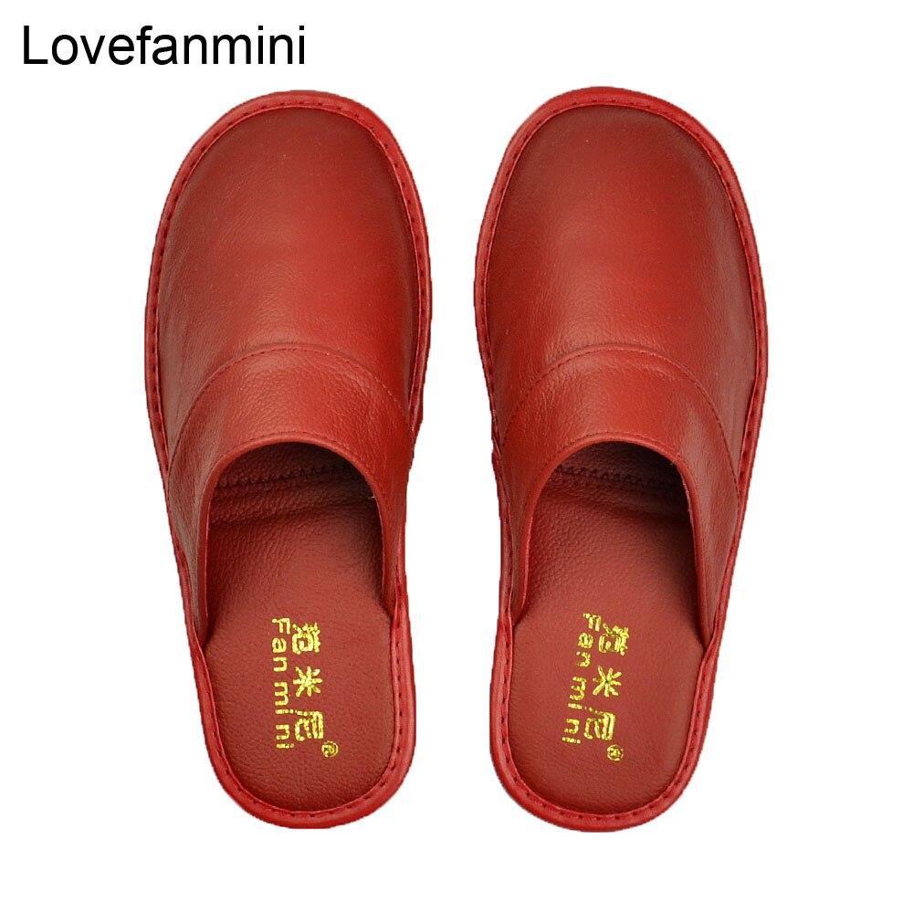 Image 5 - Домашние тапочки из натуральной коровьей кожи; Нескользящая обувь для мужчин и женщин; Модные повседневные тонкие туфли; TPR; Мягкая подошва; Сезон весна осень; 519Тапочки   -