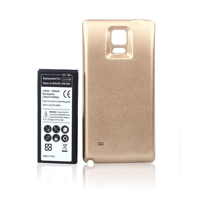 imágenes para Extendido 6800 mah de la batería del teléfono para samsung note iv 4 nota4 n9100 N910 N910F N910H Con oro Volver Cubierta de La Puerta Caso Garantizado 100%