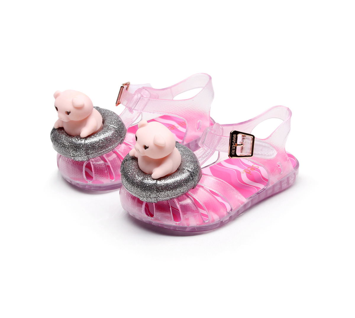 New Childrens Sandals Spring Boys And Girls Cartoon Swim Ring Pig Inlay Baotou Shoes Student Beach Shoes Eur 21 - 28 #2