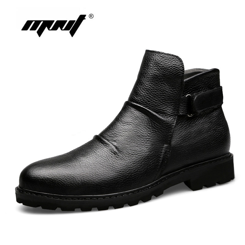 Super Warm Winter Boots Genuine Leather Men Shoes Handmade Fur Ankle Men Boots Waterproof Autumn Winter