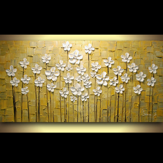 Hand painted landscape yellow grey white flowers abstract palette hand painted landscape yellow grey white flowers abstract palette knife oil painting canvas wall living room mightylinksfo