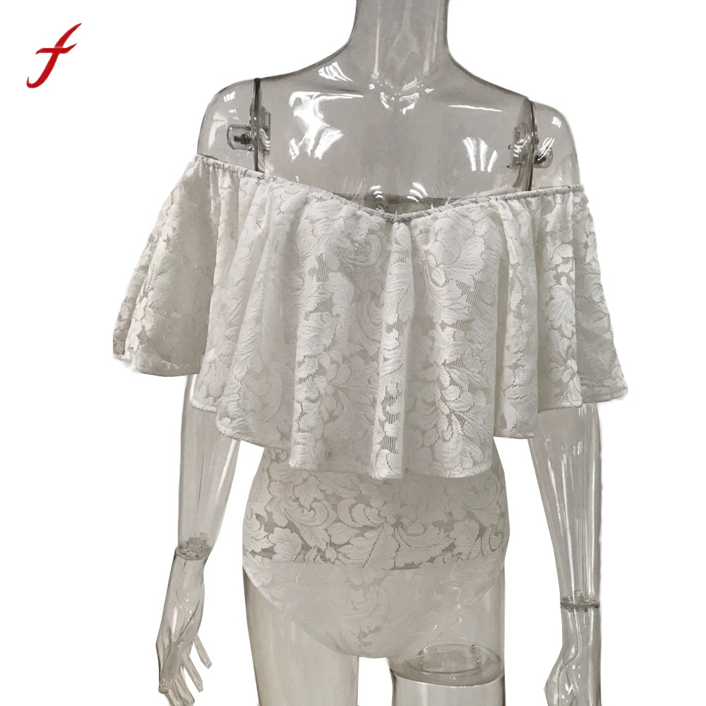 a76b0c1419 Feitong Womens Ladies Bardot Frill Off Shoulder Lace Bodysuit Stretch Bodysuit  Women Ruffle Short Sleeve Party Leotard Top-in Rompers from Women s  Clothing ...