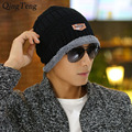 Winter Warm Male Beanies Cap Plus Velvet Stocking Hat Ski Sports Knitted Hats For Men Women Black Casual Windproof Skullies