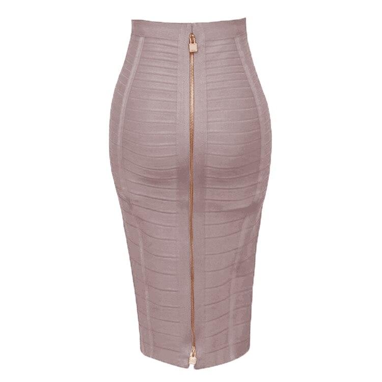 Free Shipping Plus Size XL XXL Summer Fashion Sexy Zipper Bandage Skirt 2019 Designer A Line Pencil Skirt Faldas 58cm