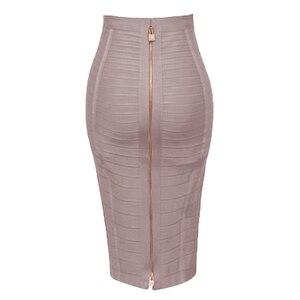 Image 2 - Free Shipping Plus Size XL XXL Summer Fashion Sexy Zipper Bandage Skirt 2019 Designer A Line Pencil Skirt Faldas 58cm