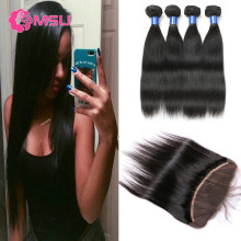 Lace Frontal with 4 Bundles Filipino Virgin Hair Straight Weave 13x4 Ear to Ear Full Lace