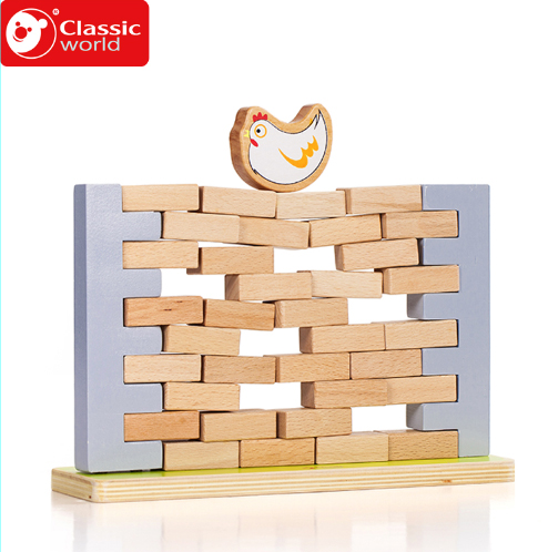 Classic World 44pcs Wall demolish game blocks Educational Soft Montessori children intelligent creative interactive toy play wooden classic fishing toy game with family kids gift educational soft montessori children intelligent creative interactive toys