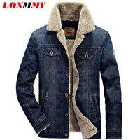 LONMMY M 4XL 2017 Winter Jeans Jacket Men Coat Denim Men Jacket Thick Velvet Liner Lapel