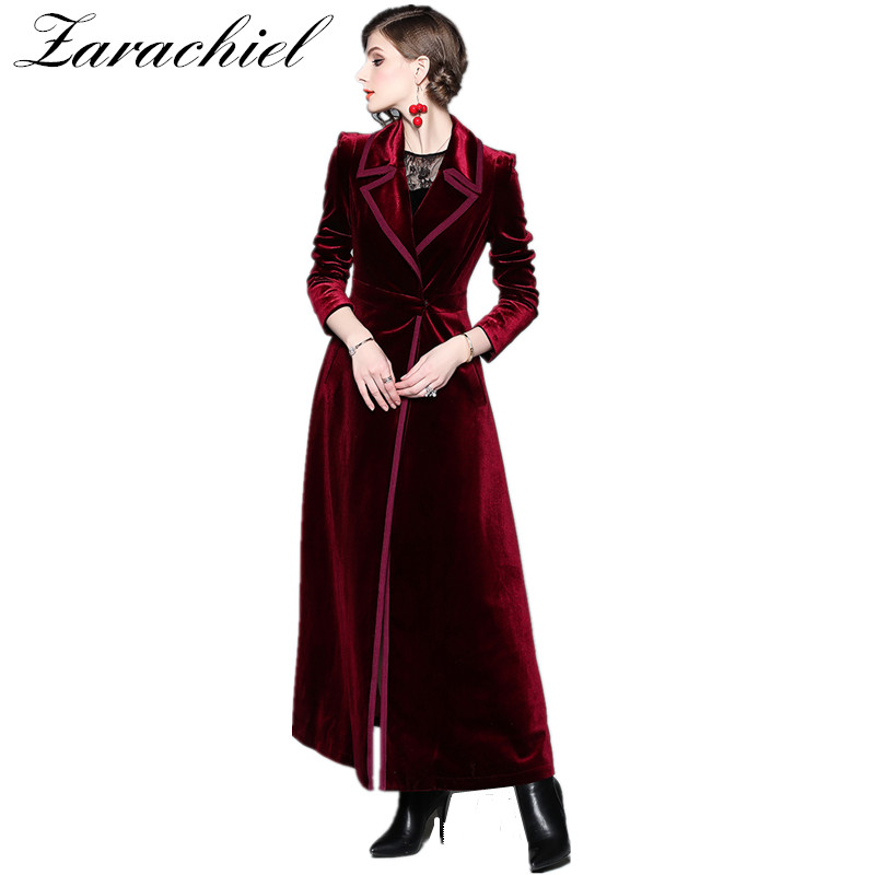 2019 Spring Autumn Burgundy Velvet X Long Overcoat Women s Notched Collar Outwear Vintage Ankle Length